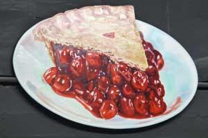 Eve's Buffet Pie, Hand-painted on Masonite